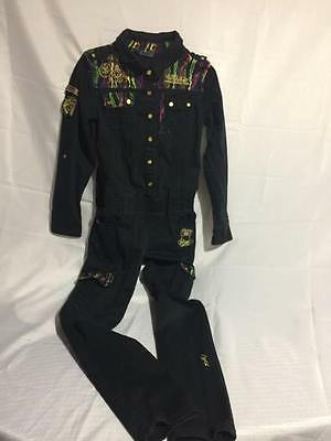 Girls Coogi Black Jumpsuit With Patches Size M 8/10