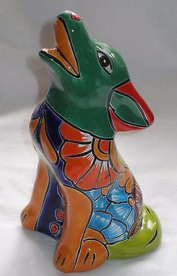 Talavera Clay Howling Coyote Figurine Hand-Painted Green Head Multi-Color C1