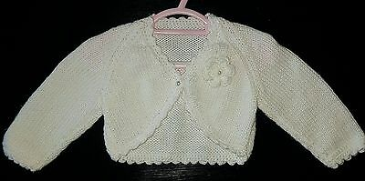 Baby Girl Soft Knitted Acrylic Cardigan White - Size 000 - As New!