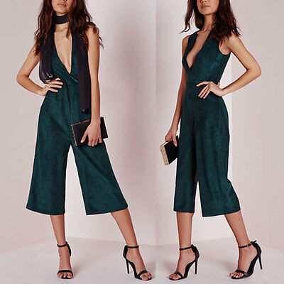 Womens Holiday Playsuit Ladies Jumpsuit Romper Bodycon Clubwear Trousers S ZR1