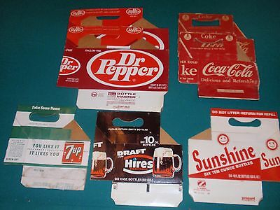 Lot of 7 Cardboard Carriers - Coca Cola - Dr Pepper - 7 up