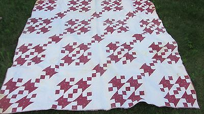 1890 ANTIQUE New England Patchwork Quilt, GORGEOUS QUILTING, Leaf Pattern Crafts
