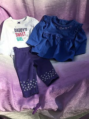 Infant Girls 3 Piece Outfit Set, Size 3 Months And 3-6 Months