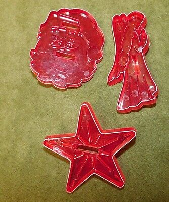 3 CHRISTMAS COOKIE CUTTERS Vintage Red Plastic Santa Star Angel USA