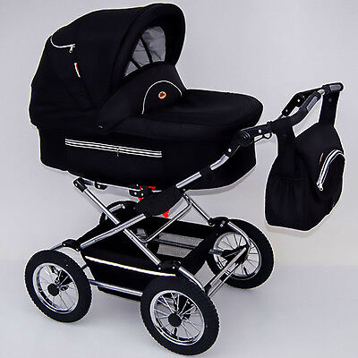 Classic Pram 02 Stroller Pushchair for Baby 2 in 1 Travel System Pumped Wheels