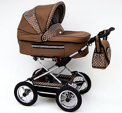 Classic Pram 01 Stroller Pushchair for Baby 2 in 1 Travel System Pumped Wheels
