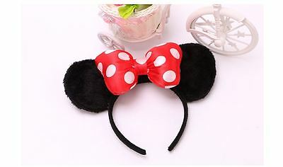 MINNIE MICKEY MOUSE EARS HEADBAND COSTUME Party Red/ Pink Bow Fancy Dress Unisex
