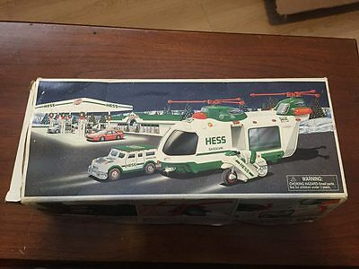 2001 Hess Helicopter with Motorcycle & Cruiser, NEW WITH DEFECTS