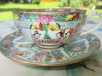 Cup Saucer Eggshell Thin Asain Art Famille Rose Traditional Family Scenes