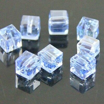 30 Pcs 4mm Swaro-element cube crystal beads E blue AB