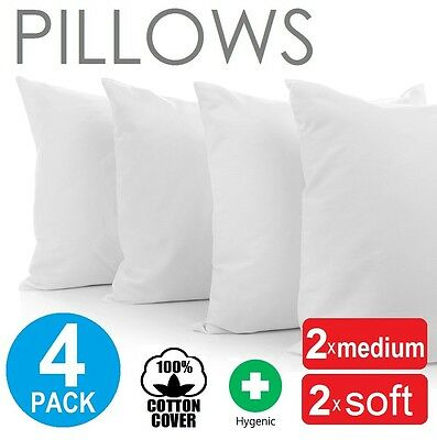 Family 4 Pack Bed Pillows Soft Medium Polyester Premium Cotton Cover 48X73cm New