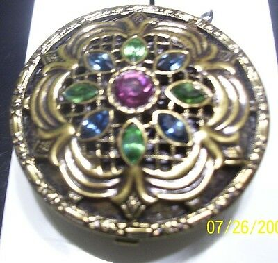 1928 Jewelry Crystal Round Shape Pill Box (Purple, Green and Blue) with Tags