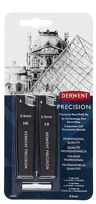 DERWENT PRECISION MECHANICAL PENCIL REFILLS -  HB & 2B lead with erasers