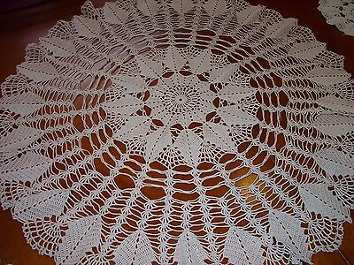 "Vintage Very Large Crochet Lace Table Mat Doily Table Centre 25"" Diameter Pink"