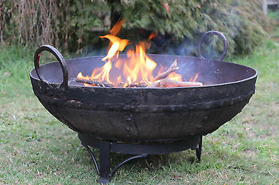 Outdoor Fire Pit Bowl Brazier Iron Handmade Genuine Vintage Indian Cooking Pot