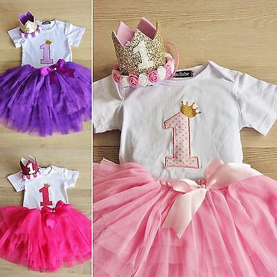 Baby Girls Outfit Clothes Body Romper Crown Set Photo First Birthday Tu Tu Skirt