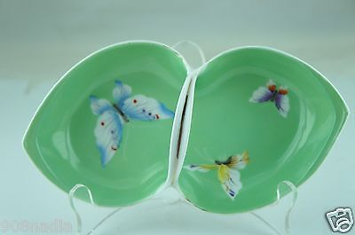 Vintage Hand Painted Nippon Green Handled Double Dish Butterfly