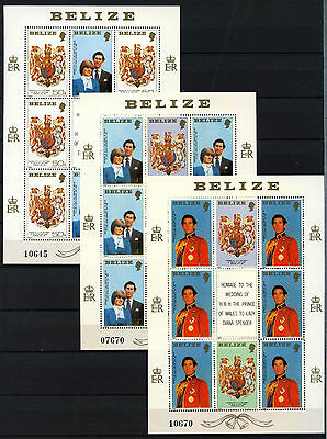 Belize 1982 SG#617-619 Royal Wedding MNH Sheetlets Set #D43288