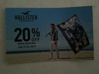 20% Off Entire Purchase at Hollister, Valid July 7-19, 2017