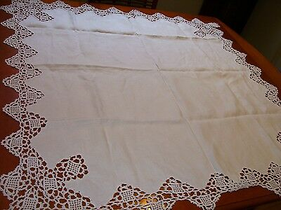"Vintage Crochet Lace Edged Linen Tablecloth Tea Cloth 40"" x 41"""