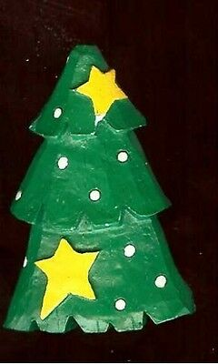 old wood painted CHRISTMAS TREE  figural Brooch pin