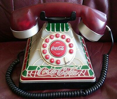 COCA-COLA Stained Glass Look Telephone Phone Lights Up - Collectible