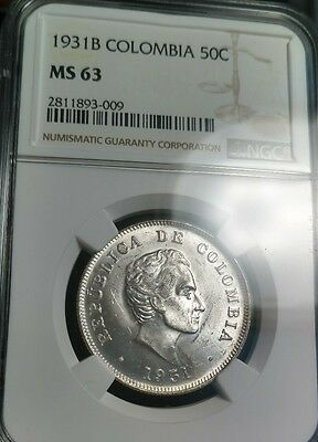 COLOMBIA - 1931 NGC MS63 - Bogota Mint - 50 Centavos -Blasting white Silver Coin