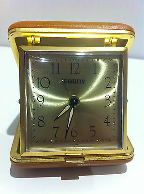 Vintage Equity Gold Folding Travel Alarm Clock With Windup Mechanism