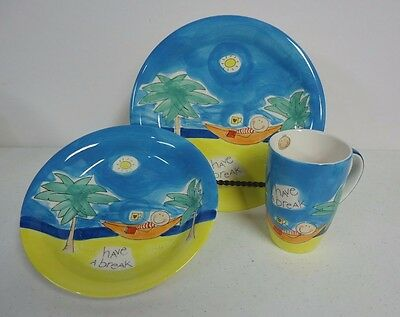 Mila Hand Painted 3 Piece Child's Dish Set - Plate, Shallow Bowl & Cup- Germany