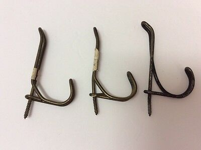 Lot Of 3 Antique Screw In Wire Hanger Coat Hooks