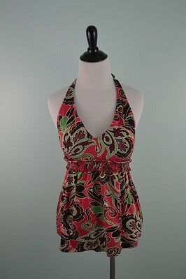 A Pea In The Pod Maternity Halter Tankini Top Women's Size Large Multi Paisley