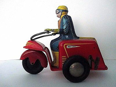 1940s Nylint 3 Wheel Motorcycle/scooter Tin Wind Up Toy Looks and Runs Great !!!