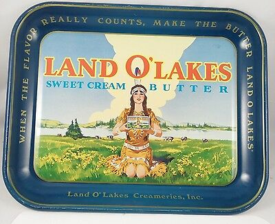 "Vintage '60's Advertisement ""land O Lakes"" Butter Serving Tray"