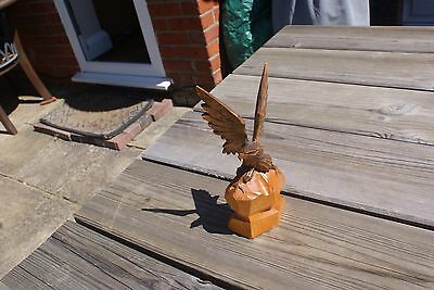 Vintage Carved Wooden Eagle Russian Eagle Black Forest Style Wooden Figure