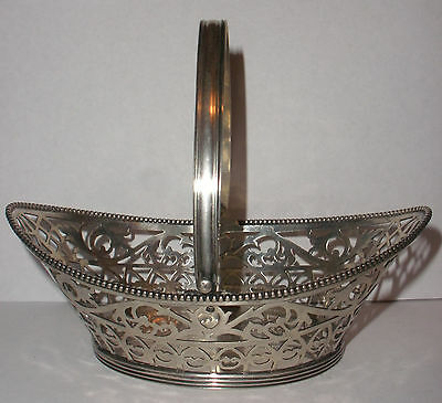 Antique 19thc Dutch silver open work  basket with handle