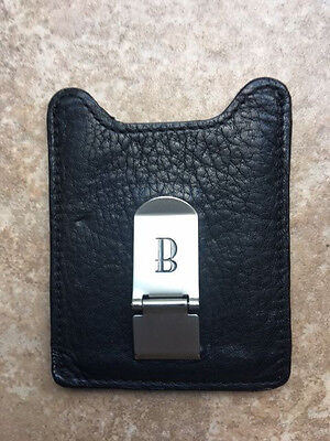 Fossil Compact Money Clip Wallet/Credit Card Case Black Leather