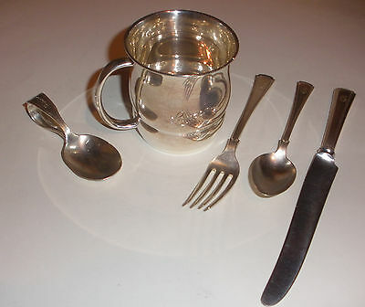 Vintage mix lot baby 5 sterling silver cup spoon fork Treasure set Towle Webster