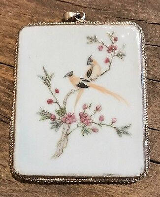 Antique? Chinese Hand Painted White Porcelain & Sterling Silver Pendant Large