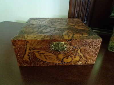 Beautiful Vtg. Flemish Hand Carved Cherries Pyrography Wooden with Brass Latch