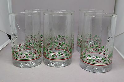 Set of 6 Vintage ©1983 Arby's Holiday Christmas Holly Berry Water Glasses