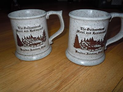 2 Coffee Mugs THE OUTDOORSMAN MOTEL AND RESTAURANT BOULDER JUNCTION WISCONSIN