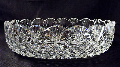 """Waterford Crystal 10 3/4"""" Scalloped Oval Bowl Diamond Fan Pattern Vintage Signed"""
