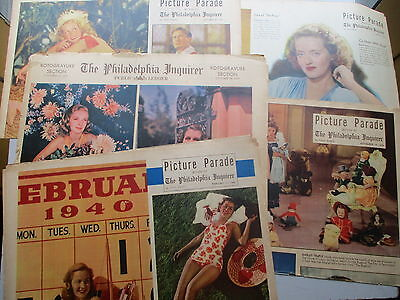Philadelphia Inquirer FIVE 1937-40  Rotogravure MOVIE STAR Color Photo Sections