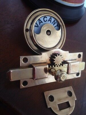 Original Late Victorian Brass Toilet Lock Vacant/Engaged Nice!!