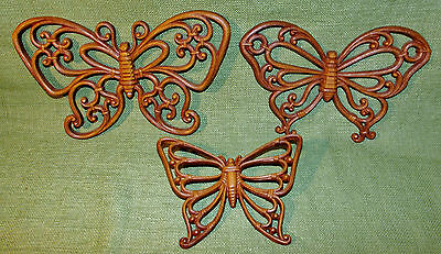 Vintage 1978 Syroco Homco Butterfly Wall Hanging Set of 3 Scrolling Style  #7537