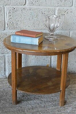 Vintage Walnut ? Art Deco Style Round Occasional Side 2 Tier Coffee Table