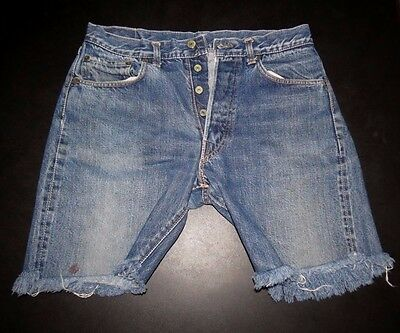 "Vintage Big E Levi's 501 Indigo Cut Off Shorts Hidden Rivets V Stitch 31"" Waist"