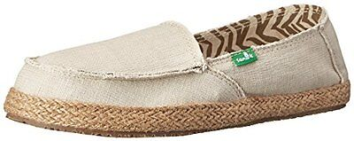 Sanuk Women's Fiona Flat Natural 8 M US Womens Loafers Shoes, New
