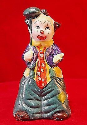 Clown Bell Vintage Collectible Figural Ceramic Clown Bell Figurine J.S. NY