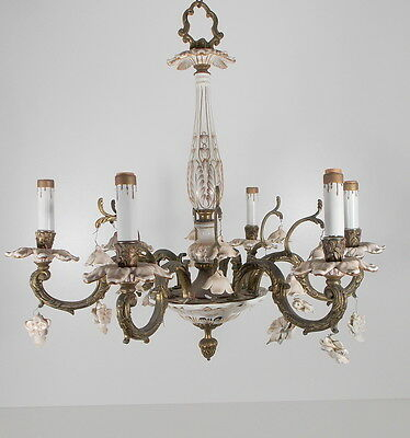 Antique Vintage Chandelier Bronze Porcelain Italy White Gold Crystals 6 Arm